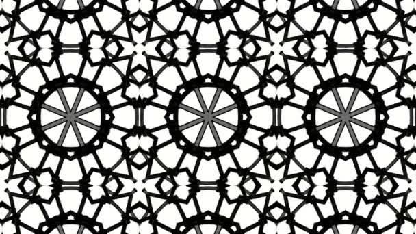 Černý animovaný vzor na bílém podkladu. abstraktní pozadí kaleidoskop. 3D vykreslování