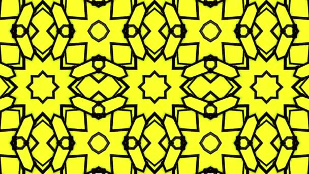 Yellow background with black stripes. animated pattern. abstract kaleidoscope background. 3d render