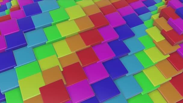 vícebarevné trojrozměrné kostky, létat pomalu. abstraktní rainbow animace. 3D vykreslování