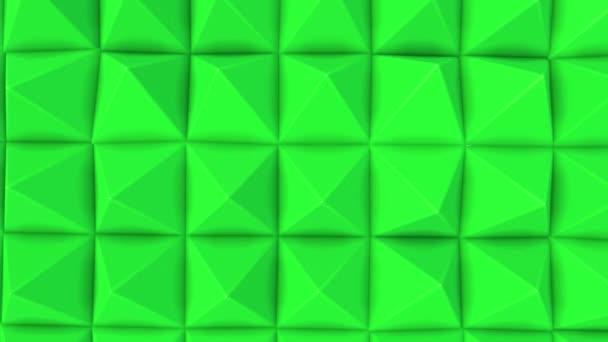 sorok, a zöld piramis lassan halad. absztrakt animáció. 3D-leképezés