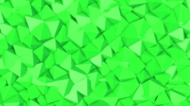 rows of green pyramids slowly moving. abstract animation. 3d rendering