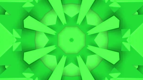 zelená abstraktní animovaný vzory. kaleidoskop pozadí. 3D vykreslování