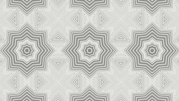 Black kaleidoscope pattern moves on white background. abstract animation. 3d render