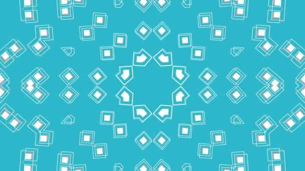 White symmetrical moving patterns on a turquoise background. Animated three-dimensional kaleidoscope background. 3d render