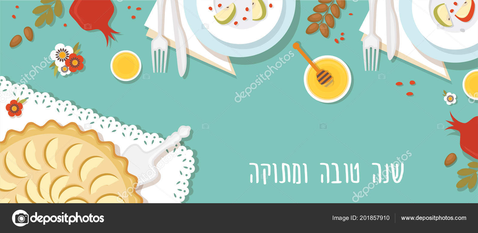 Traditional Table For Rosh Hashanah Jewish New Year Dinner With