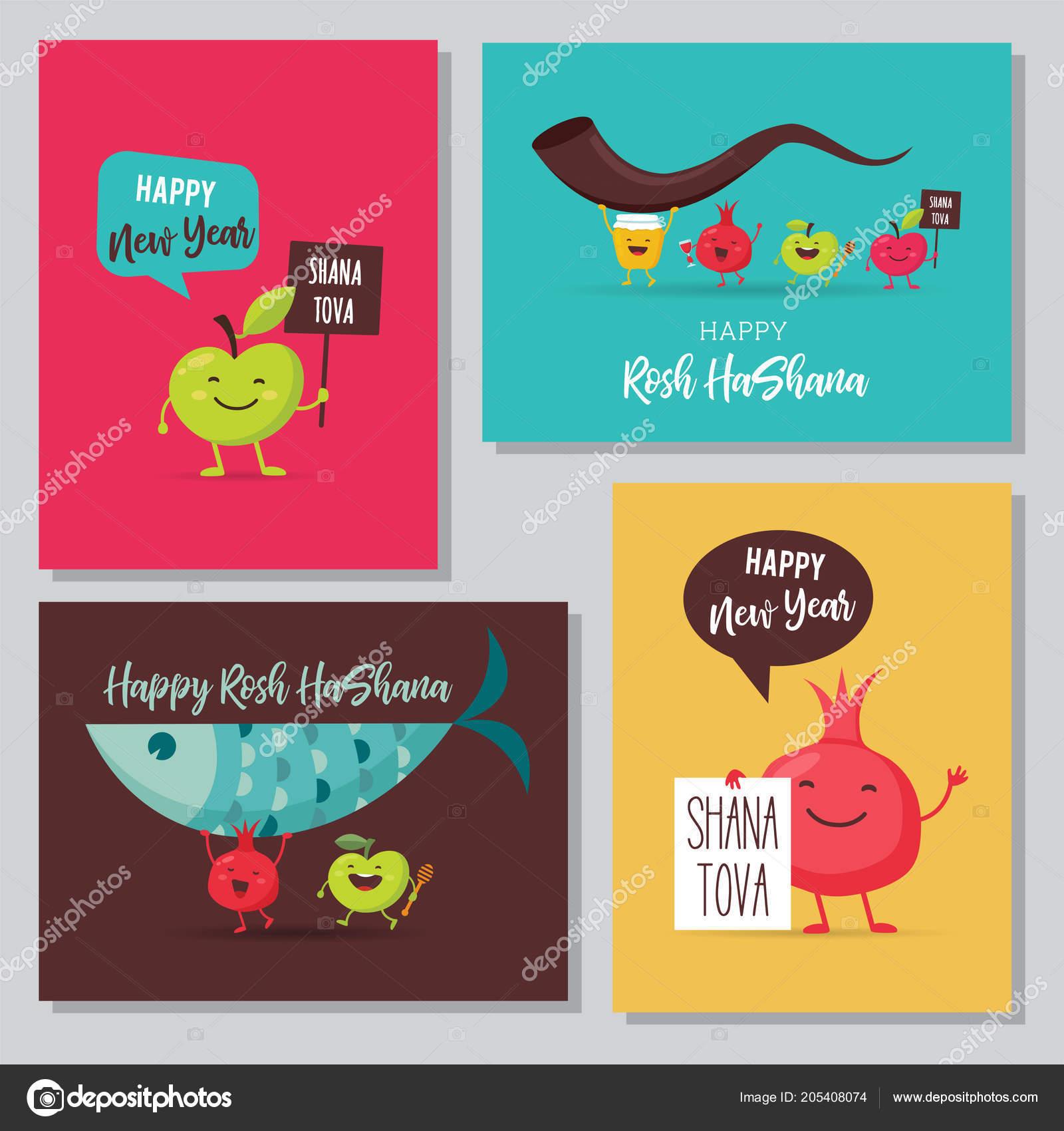 Greeting Cards With Funny Cartoon Characters For Rosh Hashanah Jewish Holiday Honey Jar