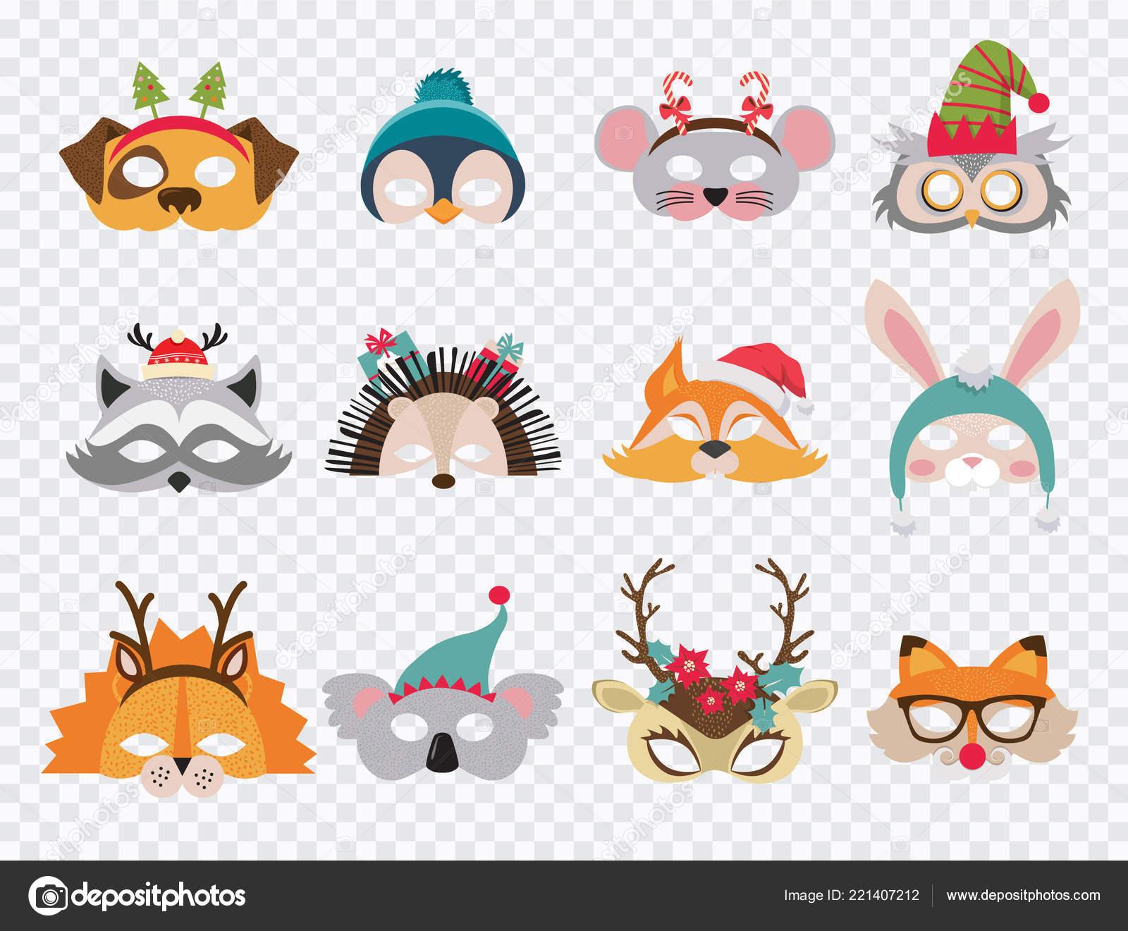 81bb2837e1 Συλλογή Χειμώνας ζώου μάσκες και Χριστούγεννα photo booth στηρίγματα για τα  παιδιά. Μάσκες καρτούν χαριτωμένο
