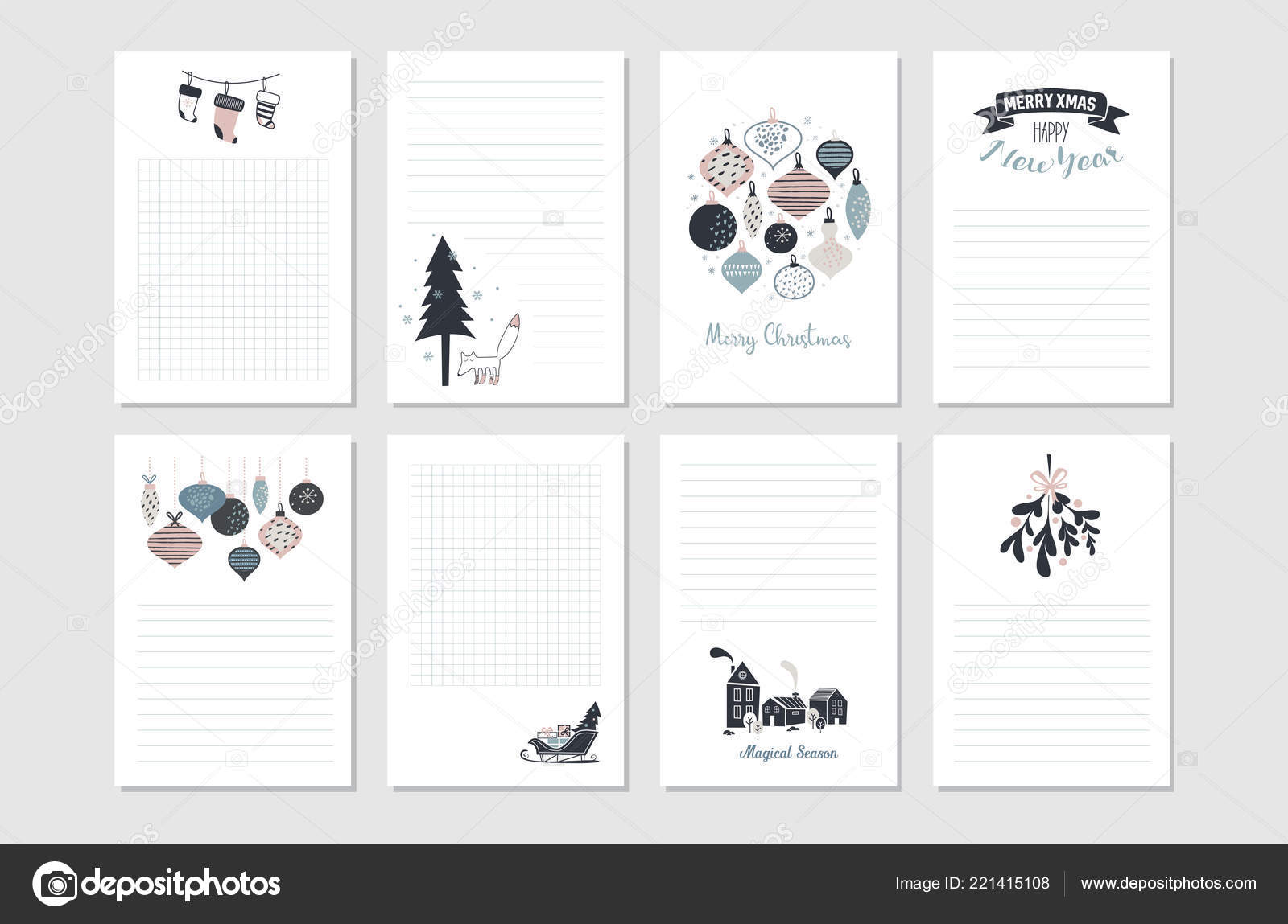 graphic about Printable Christmas Stationary named Hipster Clean Yr and Merry Xmas stationary fastened. Vector