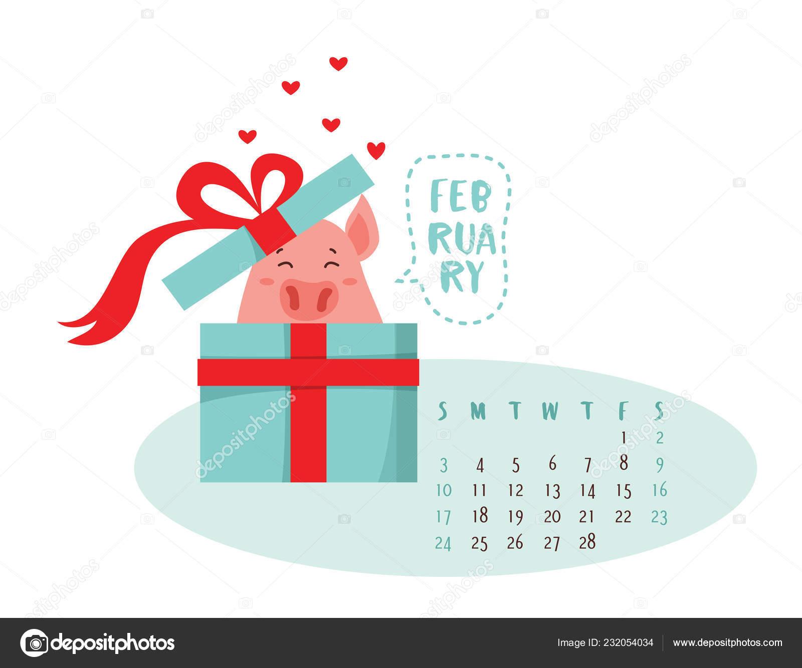 Calendario Attuale.Illustrazione Vettoriale Di Maiale Sveglio Del Fumetto