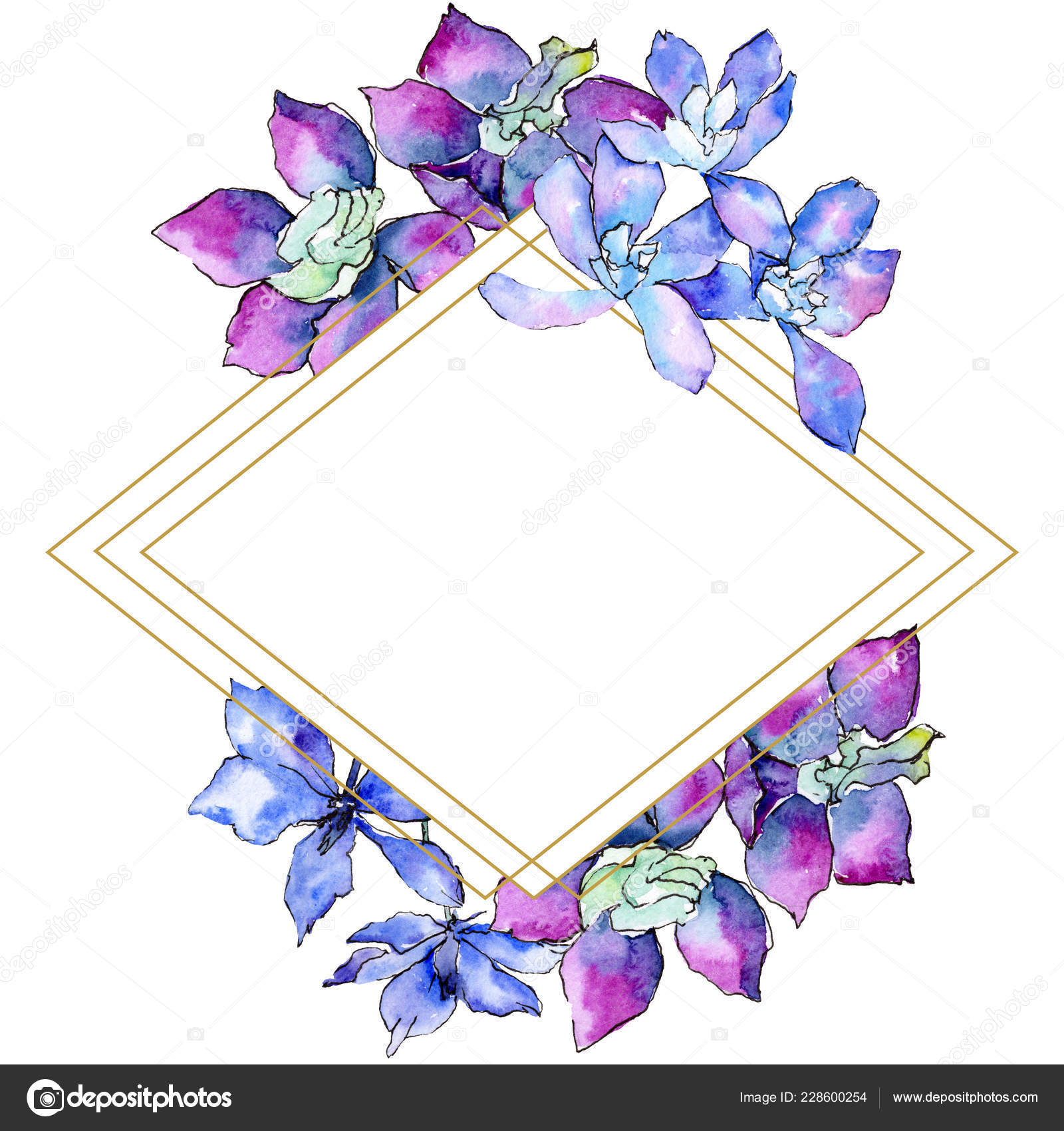 Purple Orchid Flowers Watercolor Background Illustration Frame