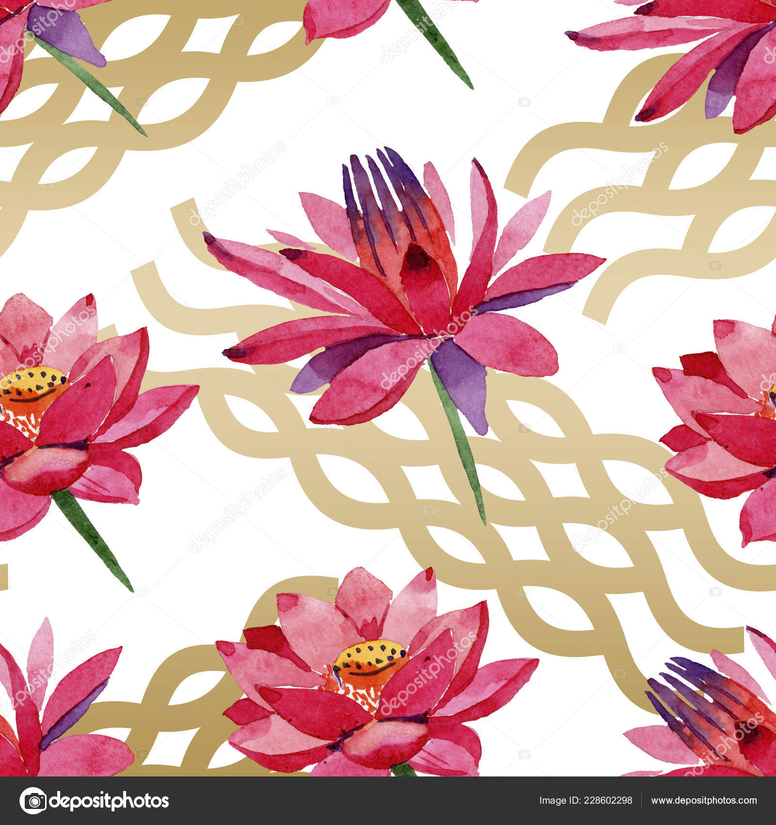 Red Lotus Flowers Watercolor Background Illustration Seamless