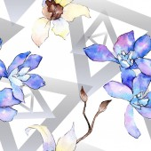 Fotografie Purple and white orchid flowers. Seamless background pattern. Fabric wallpaper print texture. Watercolor background illustration.