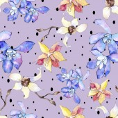 Fotografie Purple, yellow and white orchid flowers. Seamless background pattern. Fabric wallpaper print texture. Watercolor background illustration.