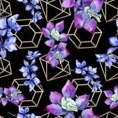 Fialové květy orchidejí. Vzor bezešvé pozadí. Fabric tapety tisku texturu. Ilustrace akvarel zázemí.