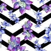 Fotografie Fialové květy orchidejí. Vzor bezešvé pozadí. Fabric tapety tisku texturu. Ilustrace akvarel zázemí