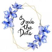 Fényképek Lila orchidea virágok. Mentse a dátum kézírás monogram kalligráfia. Akvarell háttér. Arany Sokszög-keret. Geometriai poliéder kristály alakot