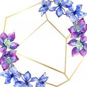 Fényképek Lila orchidea virágok. Akvarell háttér illusztráció. Arany sokszögű keret virágokkal. Geometriai poliéder kristály alakot