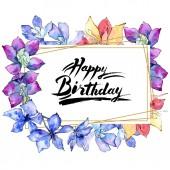 Fotografie Lila Orchidee blüht. Happy Birthday Handschrift Kalligraphie. Aquarell Hintergrund Illustration. Polygonale Goldrahmen Platz. Geometrische Polyeder Kristallform