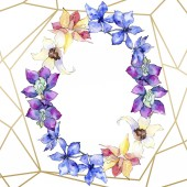 Fotografie Purple, yellow and white orchid flowers. Watercolor background illustration. Golden polygonal frame with flowers. Geometric polyhedron crystal shape.
