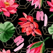 Fotografie Red lotus flowers. Watercolor background illustration. Seamless background pattern. Fabric wallpaper print texture.