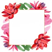 Photo Red lotus flowers. Watercolor background illustration. Frame border ornament square. Hand drawn in aquarell.