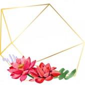 Červené lotosové květy. Ilustrace akvarel zázemí. Frame hranice zlatý krystal. Ručně kreslenou v aquarell. Geometrická mozaika polygonu.