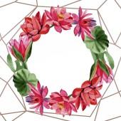Červené lotosové květy. Akvarel na pozadí. Frame hranice ornament věnec. Ručně kreslenou v aquarell. Geometrické zlatý Krystal Mozaika polygonu.
