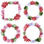 Fotografie Roten Lotusblüten. Aquarell Hintergründe festgelegt. Frame Border Ornament Kränze, Runde und eckige. Hand gezeichnet in aquarell