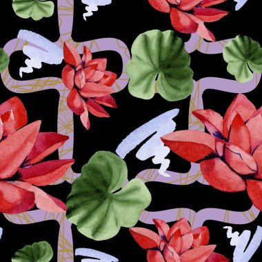 Red lotus flowers. Watercolor background illustration. Seamless background pattern. Fabric wallpaper print texture. stock vector
