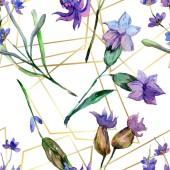 Květy fialové levandule. Akvarelu bezešvé pozadí vzorek. Fabric tapety tisku texturu. Ručně broušený český křišťál mnohostěn mozaikové obrazce