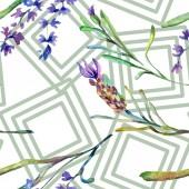 Fényképek Levendula lila virágok. Varratmentes háttérben minta. Szövet nyomtatási textúrát. Kézzel rajzolt ábrán akvarell háttér.