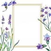 Květy fialové levandule. Ilustrace akvarel zázemí. Rám náměstí. Ručně broušený český křišťál kamenné mnohostěn mozaika tvar amethyst drahokam.