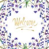 Fotografie Purple lavender flowers. Welcome handwriting monogram calligraphy. Watercolor background. Frame border ornament. Gold crystal stone polyhedron mosaic shape amethyst gem.