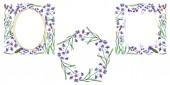 Fotografie Lila Lavendel Blumen. Wilde Frühling lässt. Aquarell Hintergründe festgelegt. Quadrat, Runde und Kranz-Frames gesetzt