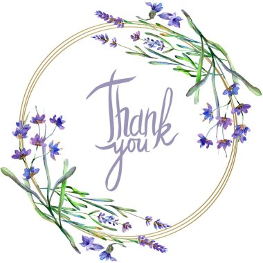 Purple lavender flowers. Thank you handwriting monogram calligraphy. Wild spring leaves. Watercolor background illustration. Round frame border. stock vector
