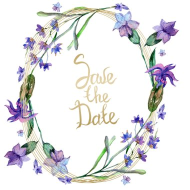 Purple lavender flowers. Save the date handwriting monogram calligraphy. Wild spring leaves. Watercolor background illustration. Round frame border. stock vector