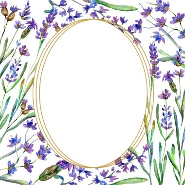 Purple lavender flowers. Wild spring flowers with green leaves. Watercolor background illustration. Round frame border. stock vector