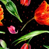 Fotografie Amazing red tulip flowers with green leaves. Hand drawn botanical flowers. Watercolor background illustration. Seamless pattern. Fabric wallpaper print texture.