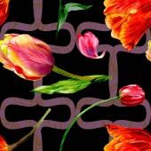 Csodálatos piros tulipán virág, zöld levelekkel. Kézzel rajzolt botanikai virágok. Akvarell háttér illusztráció. Varrat nélküli mintát. Anyagot a nyomtatási textúrát
