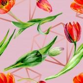 Fotografie Úžasný červený Tulipán květy se zelenými listy. Ručně tažené botanické květin. Ilustrace akvarel zázemí. Vzor bezešvé. Fabric tapety tisku textura