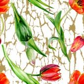 Csodálatos piros tulipán virág, zöld levelekkel. Kézzel rajzolt botanikai virágok. Akvarell háttér illusztráció. Varrat nélküli mintát. Anyagot a nyomtatási textúrát.