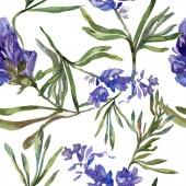 Fotografie Lila Lavendel Blumen. Nahtlose Hintergrundmuster. Tapete Drucken Stoff. Handgezeichnete Aquarell Hintergrund illustration