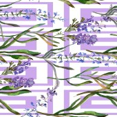 Fotografie Purple lavender flowers. Seamless background pattern. Fabric wallpaper print texture. Hand drawn watercolor background illustration.