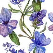 Lila Lavendel Blumen. Nahtlose Hintergrundmuster. Tapete Drucken Stoff. Handgezeichnete Aquarell Hintergrund illustration
