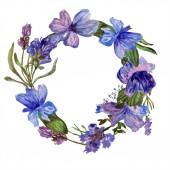 Levendula lila virágok. Tavaszi wildflowers. Akvarell háttér illusztráció. Koszorú test határ