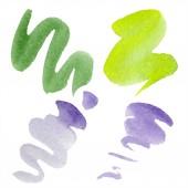Zelená, vápna a fialové abstraktní akvarel papír šplouchání izolované na bílém. Abstraktní aquarelle pozadí, textura, wrapper vzorem
