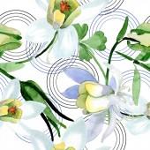 Fotografie Bílé květy aquilegia. Krásný Jarní kvítí. Vzor bezešvé pozadí. Fabric tapety tisku texturu. Ilustrace akvarel zázemí
