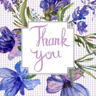Purple lavender flowers. Thank you handwriting monogram calligraphy. Beautiful spring wildflowers. Watercolor background illustration. Frame border square. stock vector