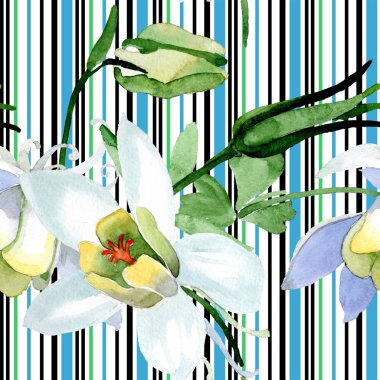 White aquilegia flowers. Beautiful spring wildflowers. Seamless background pattern. Fabric wallpaper print texture. Watercolor background illustration. stock vector