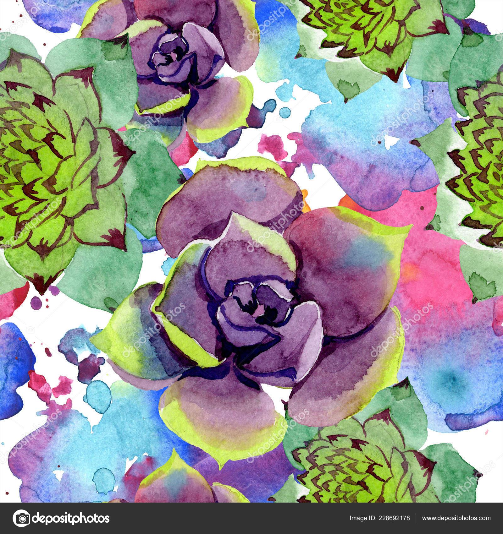 Succulent Pattern Fabric Amazing Succulents Watercolor Background Illustration Seamless Background Pattern Fabric Wallpaper Stock Photo C Andreyanush 228692178